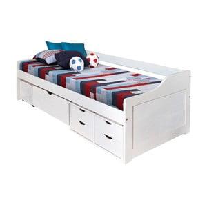 Biela drevená posteľ s úložným priestorom 13Casa Tetris, 90 x 200 cm