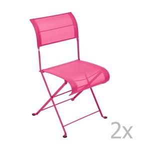 Sada 2 ružových skladacích stoličiek Fermob Dune