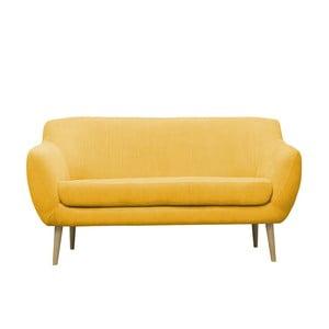 Žltá pohovka pre troch Mazzini Sofas Sardaigne, svetlé nohy