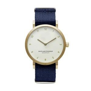 Unisex hodinky s modrým remienkom South Lane Stockholm Sodermalm Gold Big