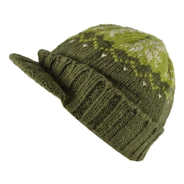 Vlnená čiapka so šiltom Zelená vločka
