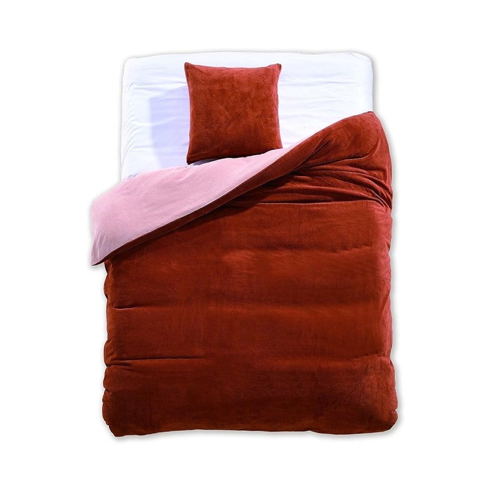Hnedo-béžové obojstranné obliečky z mikrovlákna DecoKing Furry, 135 × 200 cm