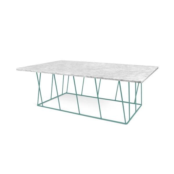 Biely mramorový konferenčný stolík so zelenými nohami TemaHome Helix, 120cm