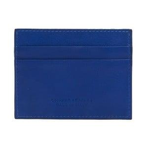 Modrá pánska kožená peňaženka na bankovky a vizitky Billionaire, 8 × 10 cm