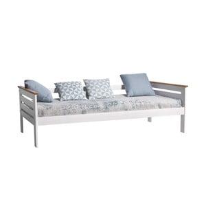 Biela jednolôžková posteľ z masívneho borovicového dreva Marckeric Alba, 90×190 cm