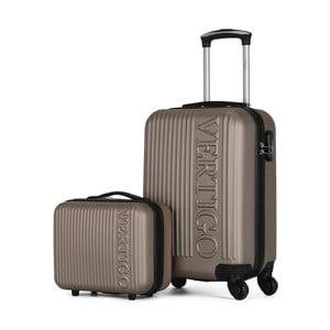 Sada 2 hnedobéžových cestovných kufrov na kolieskach VERTIGO Valises Cabine & Vanity Case