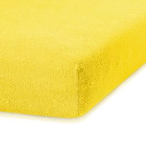 Tmavožltá elastická plachta s vysokým podielom bavlny AmeliaHome Ruby, 200 x 80-90 cm