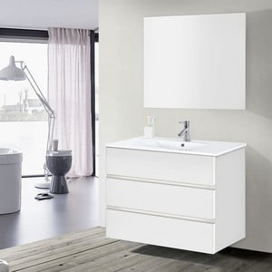 Kúpeľňová skrinka s umývadlom a zrkadlom Nayade, odtieň bielej, 100 cm