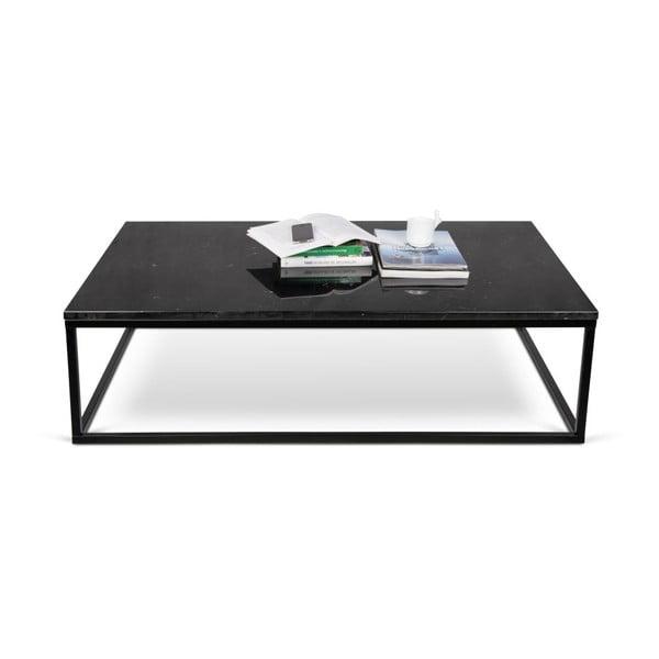 Čierny konferenčný stolík s doskou v dekore mramoru TemaHome Prairie