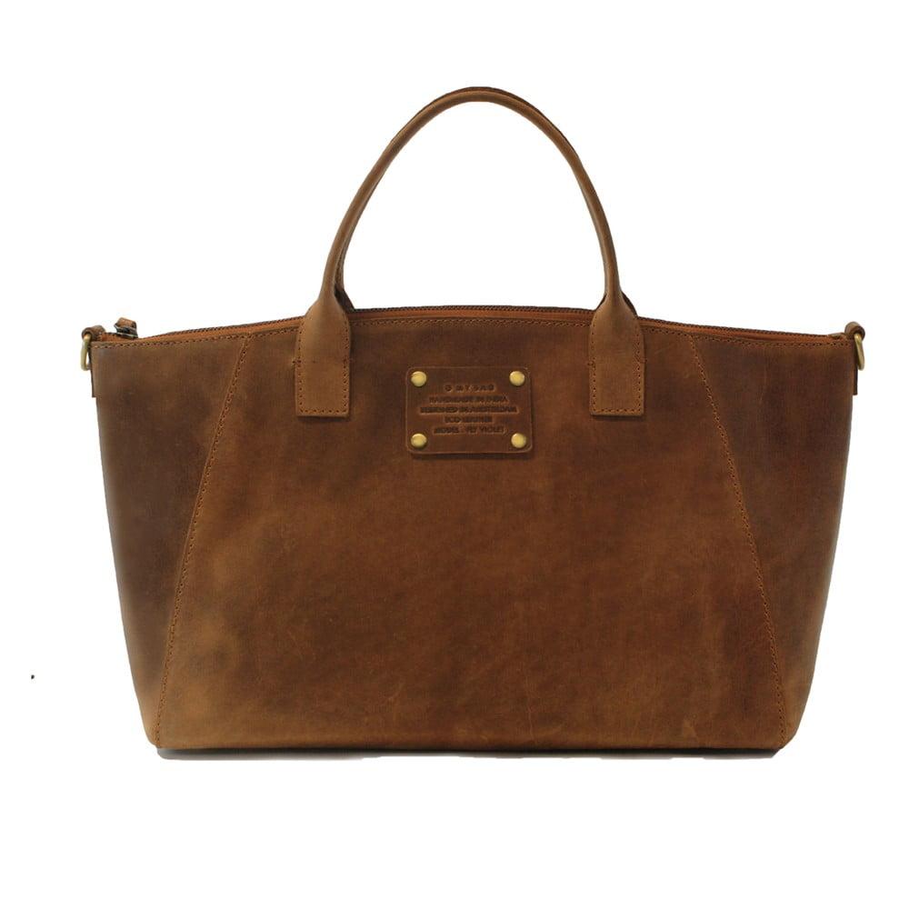 Hnedá kožená kabelka O My Bag Fly Violet Maxi 90bb207075d
