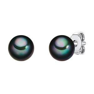 Náušnice s antracitovočiernou perlou Perldesse Muschel,⌀6 mm