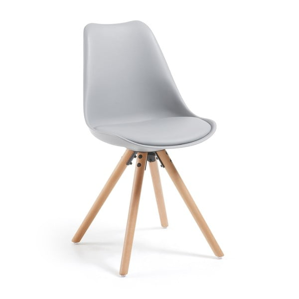 Sivá stolička s drevenou podnožou La Forma Lars