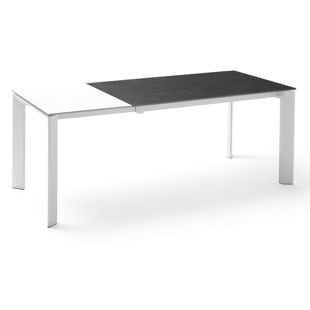 Bielo-čierny rozkladací jedálenský stôl sømcasa Lisa, dĺžka 140/200 cm