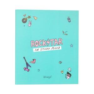 Zelený linajkový zápisník Mr. wonderful Rockstar