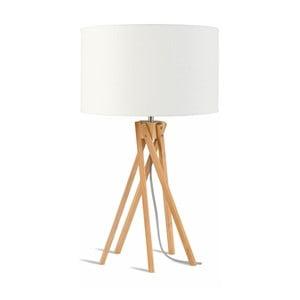 Stolová lampa s bielym tienidlom a konštrukciou z bambusu Good&Mojo Kilimanjaro