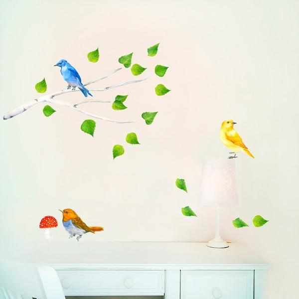 Samolepka na viac použití Birds Branch, 47x26 cm
