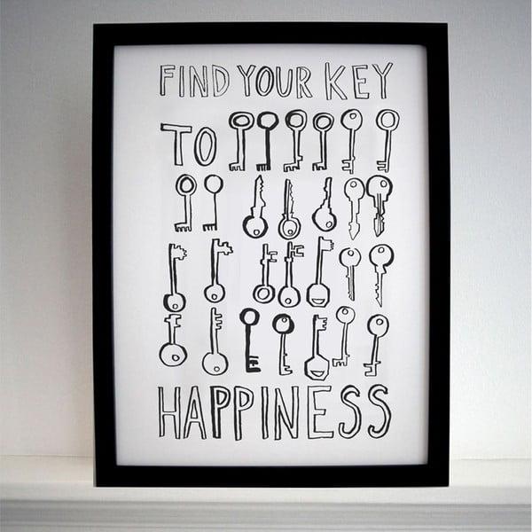 Plagát Key To Happiness, 30x40 cm