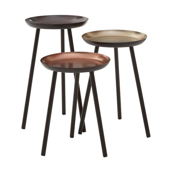 Sada 3 stolíkov s kovaným efektom Side Tables, 30 cm