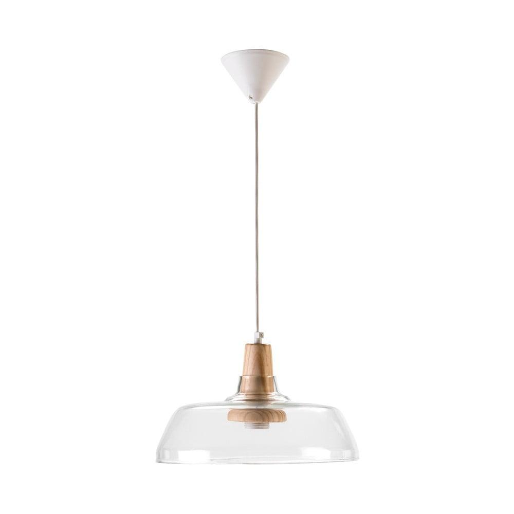 Biele závesné svietidlo zo skla a dreva Surdic Elba
