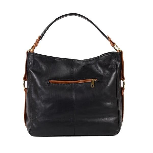 Kožená kabelka Linda, čierna/koňak