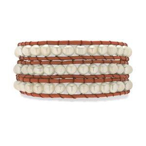 Oranžovo-biely kožený náramok s perlami Nova Pearls Copenhagen Néreus
