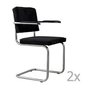 Sada 2 čiernych stoličiek s opierkami Zuiver Ridge Rib