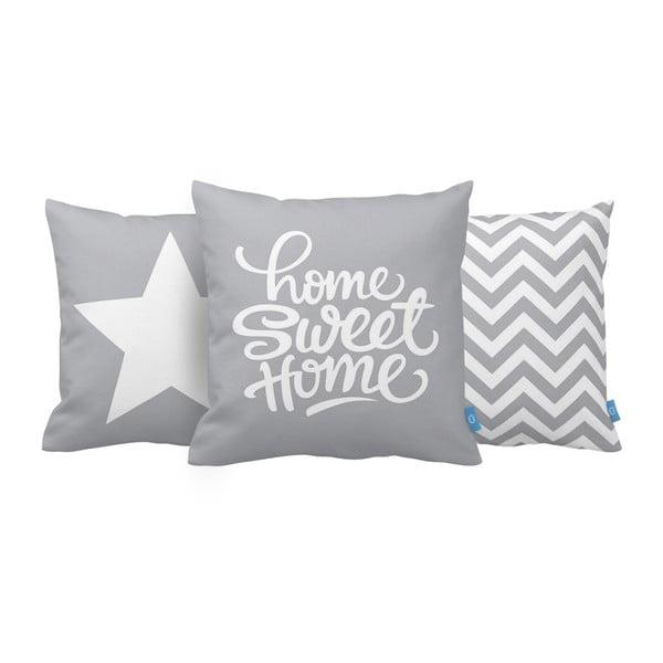 Sada 3 vankúšov Home Sweet Home, 43x43 cm, sivá
