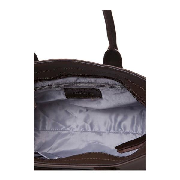 Kožená kabelka do ruky Marta Ponti Pocket Deux, svetlohnedá/tmavohnedá