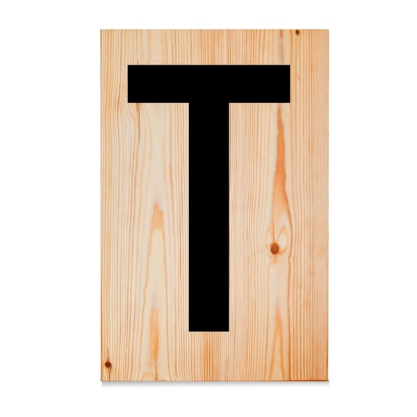 Drevená ceduľa Letters T