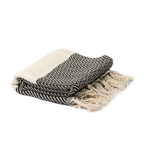Čierno-biely hammam uterák Spa Time Zig, 95 x 180 cm
