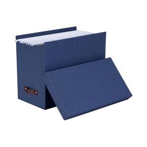 Modrý úložný box na dokumenty Bigso, 35×27 cm