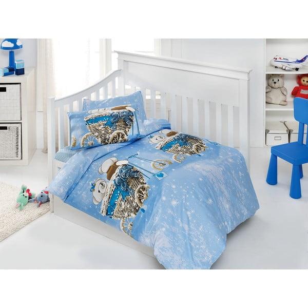 Set detských obliečok a plachty Sweet Bear Blue, 120x150 cm