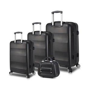 Sada 3 čiernych cestovných kufrov na kolieskach s USB porty a príručného kufríka My Valice LASSO Travel Set
