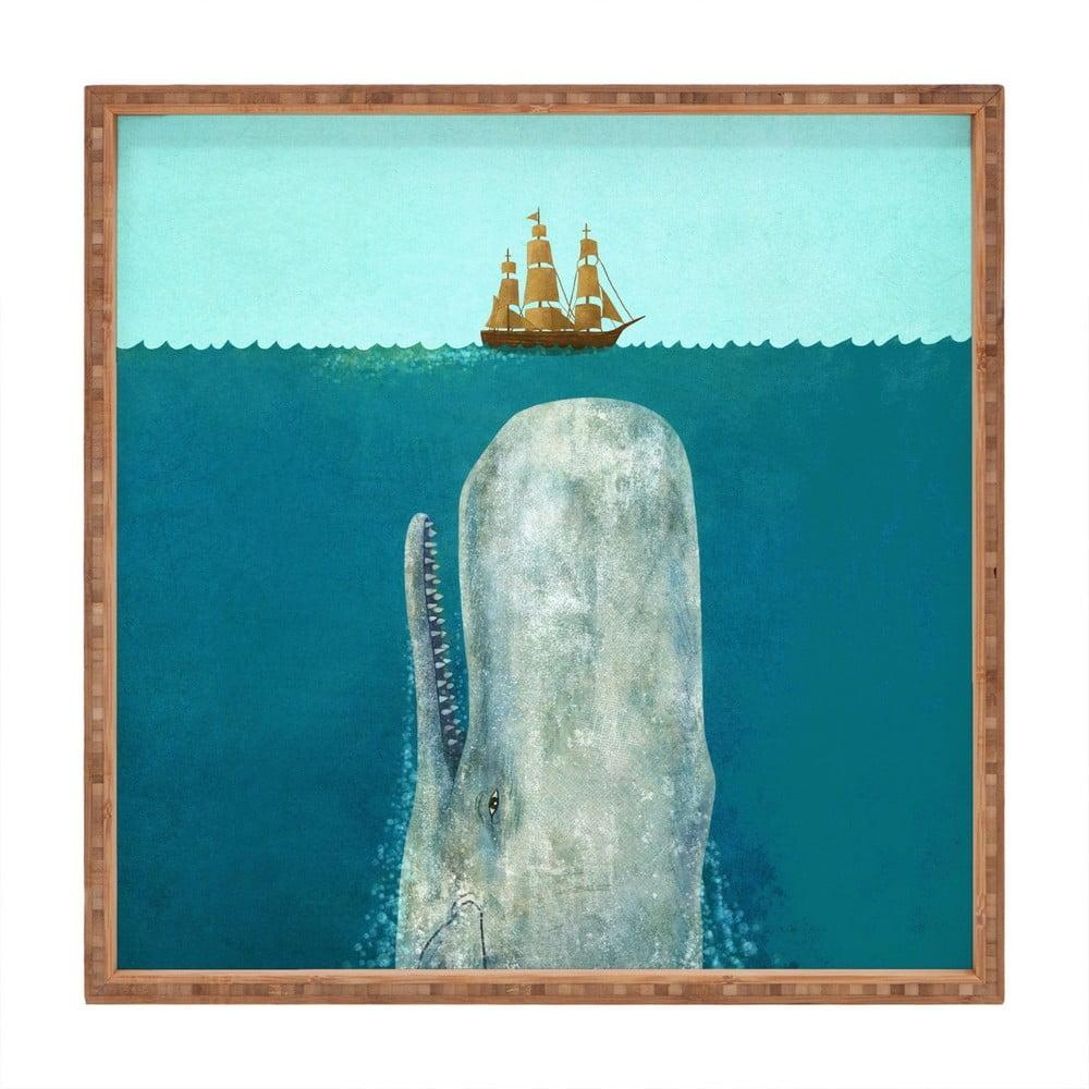 Drevený dekoratívny servírovací podnos Moby, 40 × 40 cm