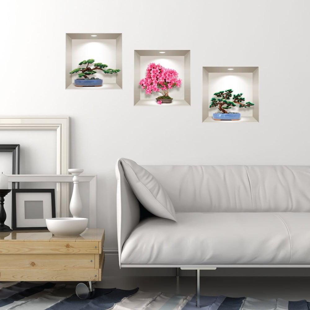Sada 3 3D samolepiek na stenu Ambiance Natural and Colorful Bonsai