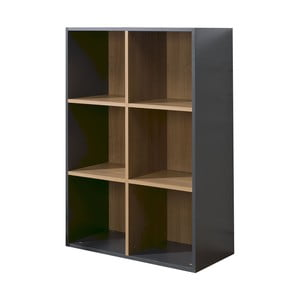 Čierno-hnedá knižnica so 6 policami JUNIOR Provence Cube