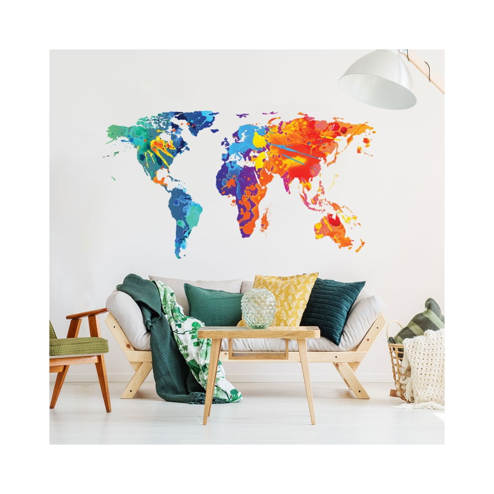 Nástenná samolepka Ambiance Wall Decal Worlds Map Design Watercolor, 40 × 70 cm