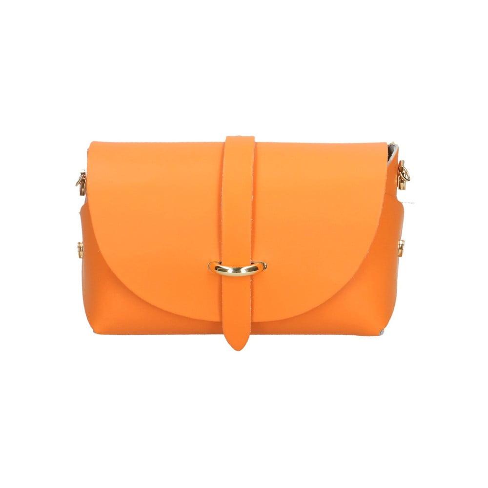 Oranžová kožená kabelka Chicca Borse Jaquel  5bd6c209077