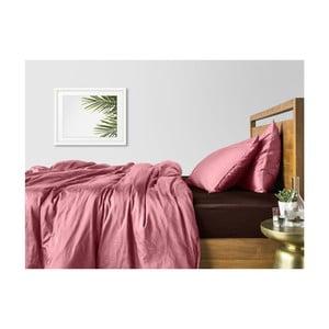 Ružové bavlnené obliečky na dvojlôžko s hnedou plachtou COSAS Lago, 200×220cm