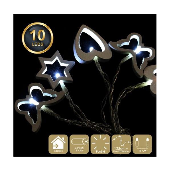Svetelná reťaz s 10 bielymi LED svetielkami Unimasa Mix