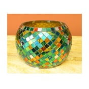 Sklenený svietnik Zelená mozaika