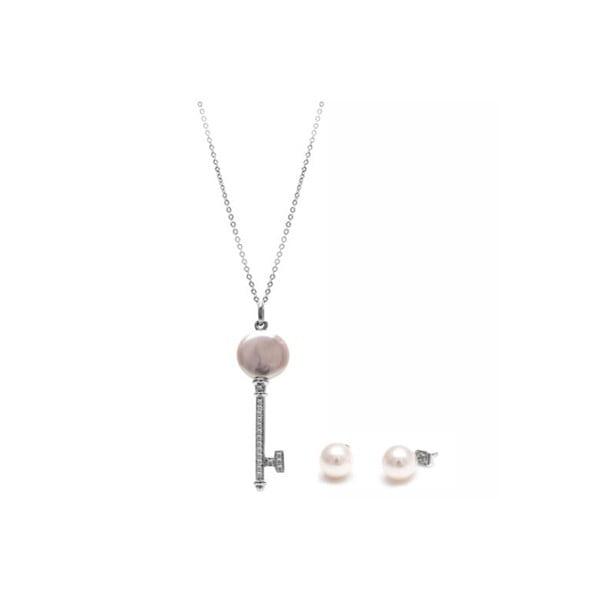 Sada náhrdelníku a náušníc z riečnych perál GemSeller Lutea