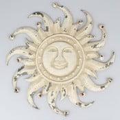 Biela nástenná kovová dekorácia Dakls Sun