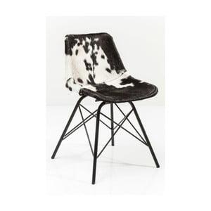 Čierno-biela jedálenská stolička s koženým poťahom Kare Design Haudy