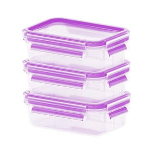 Sada 3 krabičiek na jedlo Clip&Close Rapsberry, 3x0,55 l