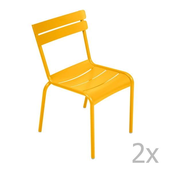 Sada 2 žltých stoličiek Fermob Luxembourg