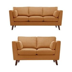 Sada dvou pohovek pre dvoch a pre troch  Elisa, oranžová