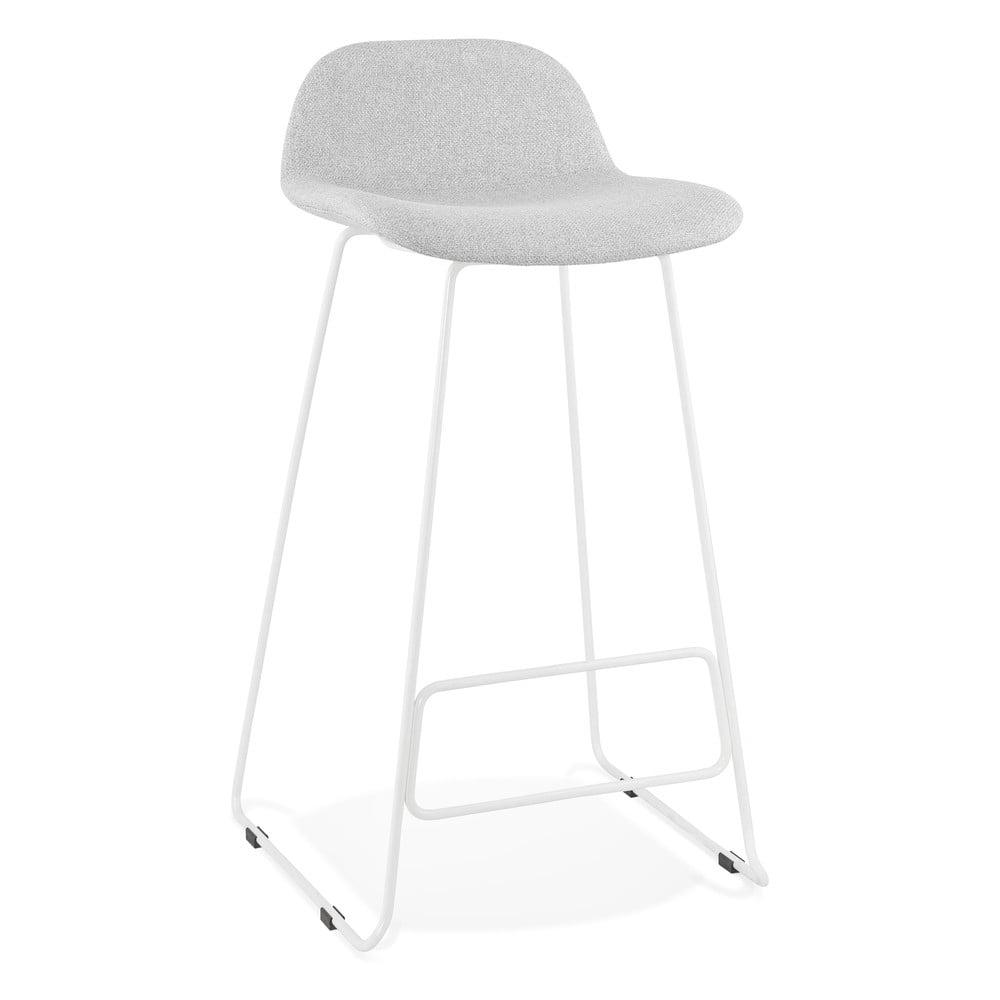 Svetlosivá barová stolička s bielymi nohami Kokoon Vancouver, výška sedu 76 cm