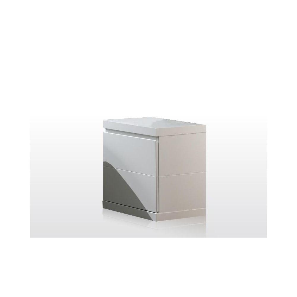 Biely nočný stolík Vipack Lara White, šírka 44 cm