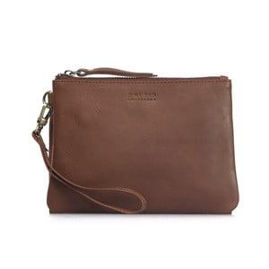Svetlohnedá kožená taška na zips Scottie Midi